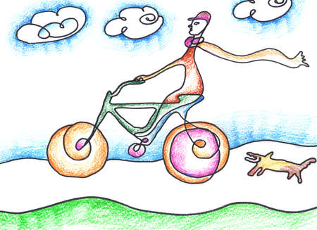 one wheel bike: Illustration image of the man riding a bicycle with the dog running beside