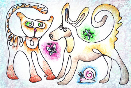 interacting: Colorful illustration of a dog and cat interacting with each other