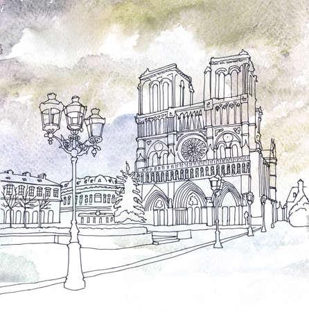 Watercolor and pen drawing of Notre Dame de Paris, France photo