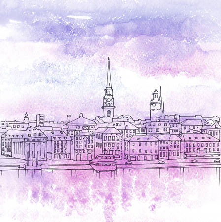 quay: Pen and watercolored illustration of old town Gamla Stan in Stockholm, Sweden Stock Photo
