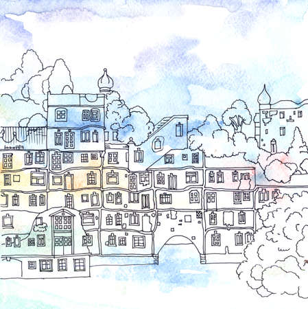 Watercolored illustration of Residential Building of the City of Vienna, Hundertwasser House, Austria illustration