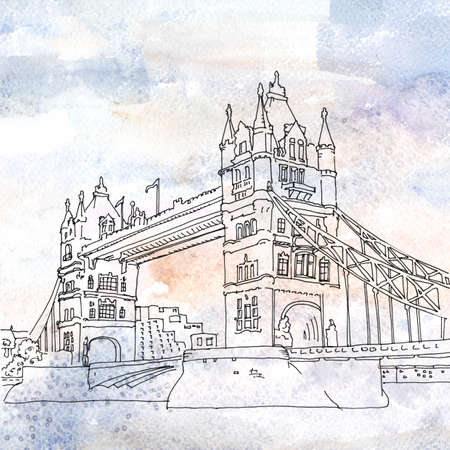river thames: Watercolored illustration of Tower Bridge which crosses the River Thames. London, England