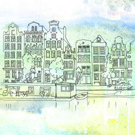 edifice: Watercolored illustration of a typical houses and canals of Amsterdam, Netherlands Stock Photo