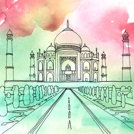 mausoleum: Watercolor and pen drawing of the Taj Mahal. Agra, India Stock Photo