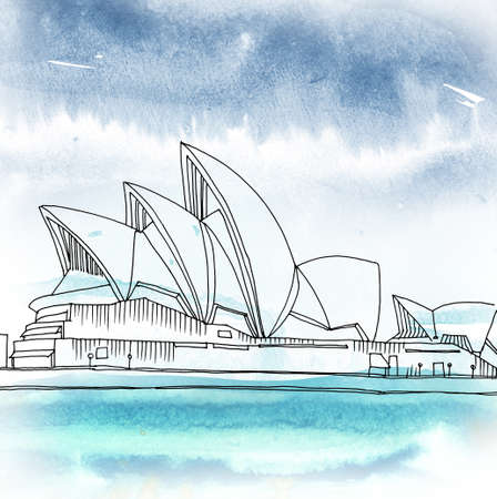 Watercolored illustration of the Sydney Opera House. Sydney, New South Wales, Australia