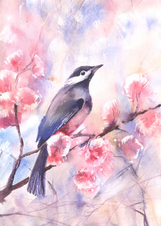 watercolor technique: Water color illustration of a bird on a branch. Wet-in-Wet watercolor technique