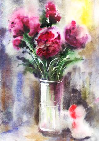 watercolor technique: Illustration of watercolor bouquet of red peonies. Wet in Wet watercolor technique Stock Photo