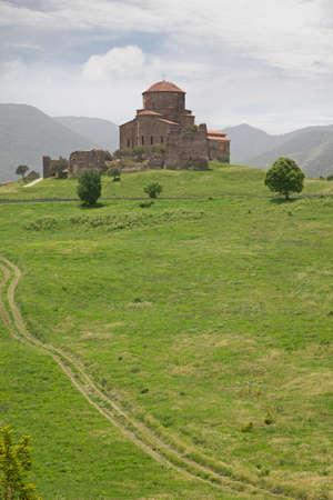 mountaintop: Jvari Monastery Monastery of the Cross stands on the rocky mountaintop near Mtskheta town, Georgia