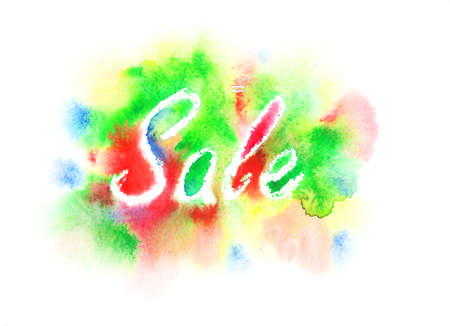 commercial painting: Watercolor Sale sign painted on a colorful background