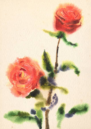 watercolor technique: Illustration of watercolor rose on a grunge paper texture. Wet in Wet watercolor technique Stock Photo