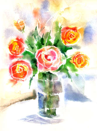 red rose bouquet: Watercolor still life of bouquet of red roses