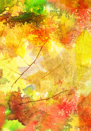 illustration and painting: Abstract watercolor pattern with autumn leaves in the background