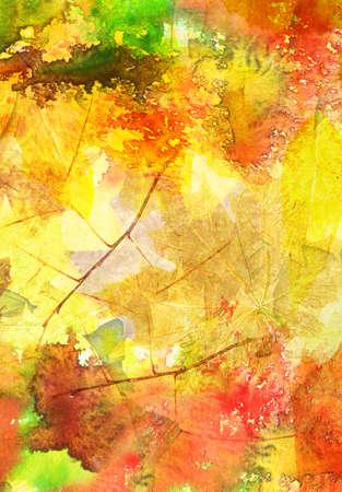 pintura abstracta: Patrón de acuarela de fondo con hojas de otoño en el fondo