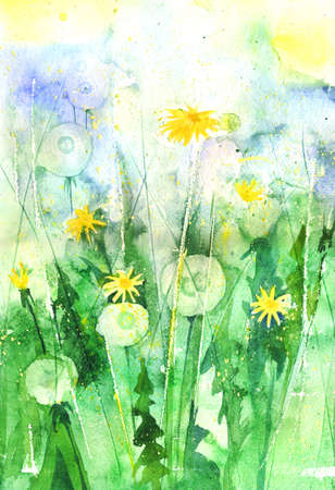 full frame: Full frame view of watercolor dandelions in the garden