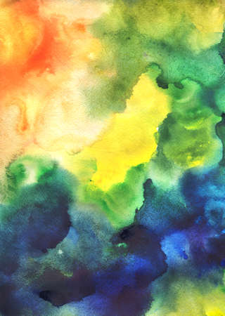 full frame: Full frame abstract watercolor painting on grunge paper texture Stock Photo