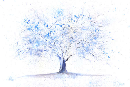 Seasonal watercolor tree painted in a winter theme