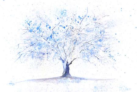 Seasonal watercolor tree painted in a winter theme