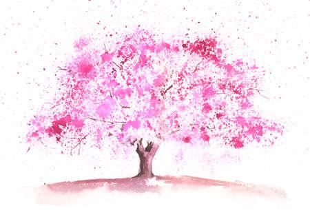 warm colors: Seasonal watercolor tree painted in a spring theme Foto de archivo