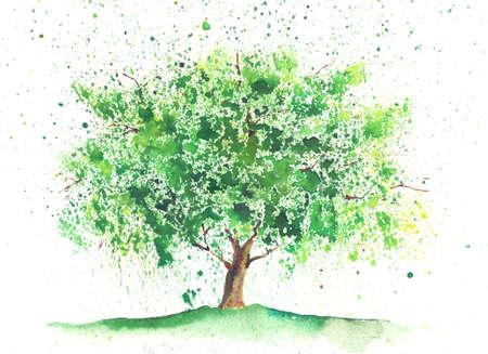 Seizoensgebonden aquarel boom geschilderd in een zomer thema