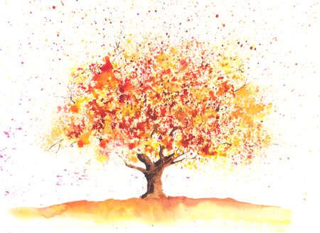 秋をテーマに描かれた季節の水彩画ツリー