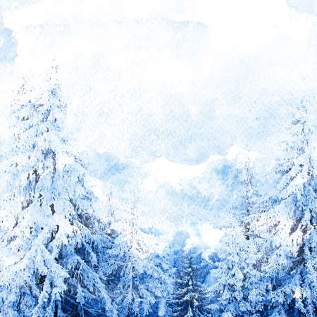 color image: Watercolor illustration of winter background with fir trees on a grunge paper Stock Photo