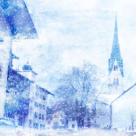 town square: Illustration of winter cityscape. Artistic watercolor painting style with texture