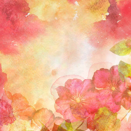 grunge floral: Watercolor illustration of floral background on a grunge paper with texture