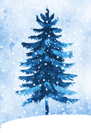 winter tree: Watercolor illustration of fir tree painted in a winter theme Stock Photo