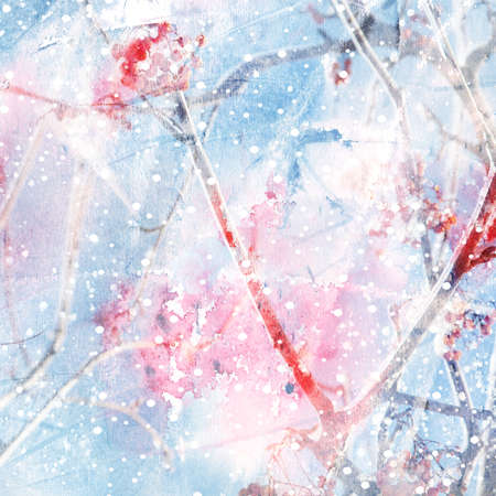 closeup: Watercolor illustration of winter background with mountain ash tree on a grunge paper