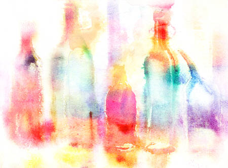 watercolor technique: Still life of various bottles over white background. Wet-in-Wet watercolor technique Stock Photo