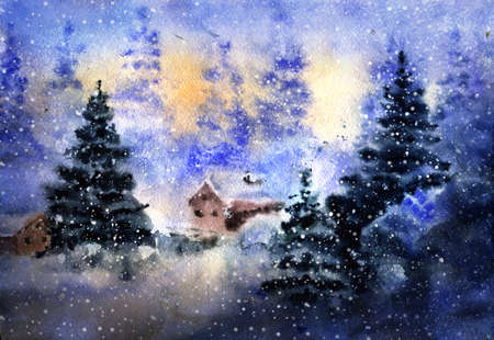 Aquarelle drawing of winter country landscape with detached house at snowy night