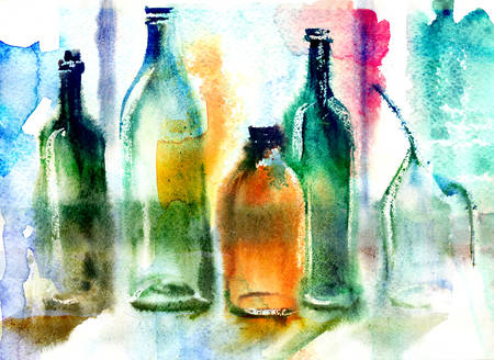 aquarelle painting art: Colorful still life of various bottles. Wet-in-Wet watercolor technique Stock Photo