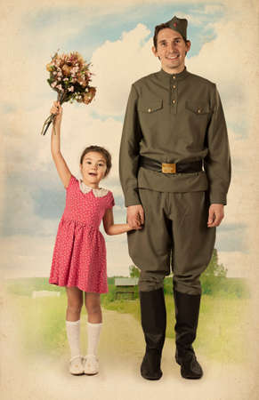 russian girl: Beautiful little girl with bunch of flowers and Soviet soldier in uniform of World War II.  Monochrome, grunge textures, intentional styled to the 1940s