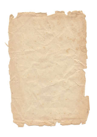 one sheet: One old paper sheet isolated on white background Stock Photo