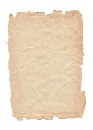 Una hoja de papel viejo aislado en el fondo blanco Foto de archivo