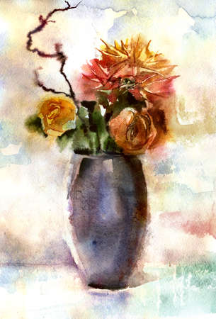 Watercolor still life with bouquet of flowers