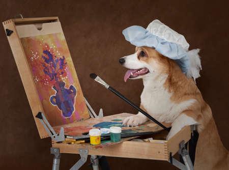 Welsh Corgi Pembroke psa artysty malarstwo martwa natura z bukietem kwiatów
