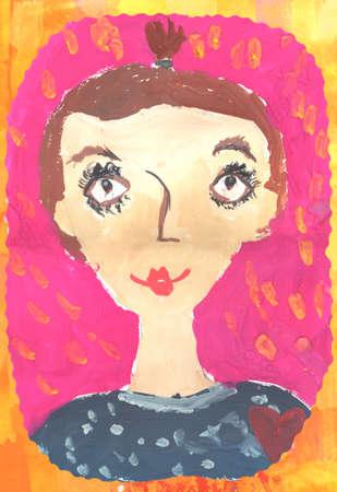 child portrait: Childs artwork - Portrait of a little girl