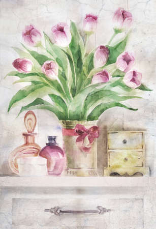 still life flowers: Watercolor illustration of still life with bouquet of flowers and female accessories Stock Photo