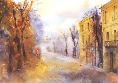 tranquil scene on urban scene: Watercolor autumn landscape of the city street
