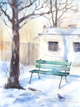 tranquil scene on urban scene: Watercolor winter landscape with a lonely bench Stock Photo