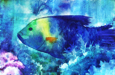 water's: Watercolor illustration of blue fish swimming in tropical waters Stock Photo