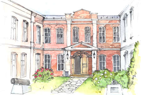 Watercolor and pen drawing of an old mansion in the style of classicism