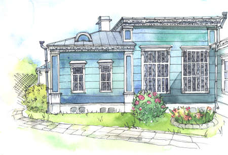house with style: Watercolor and pen drawing of an old wooden house