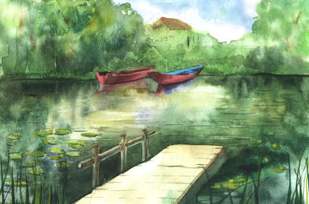 gangway: Watercolor river landscape with boats and gangway