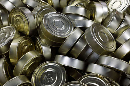 Full frame background of canned fish close up
