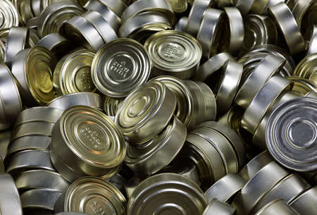 tinned goods: Full frame background of canned fish