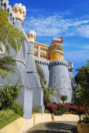 SINTRA - APRIL 07: Pena palace in the municipality of Sintra, about 25km northwest of Lisbon. Portugal most beautiful castles of Europe April 07, 2017 in Sintra, Portugal Editorial
