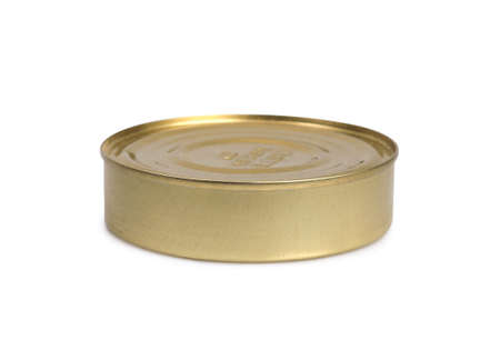 conservative: Tin can with blank label isolated on a white background Stock Photo