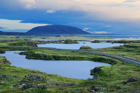 crater lake: Scenic sunset at Lake Myvatn in Northern Iceland Stock Photo